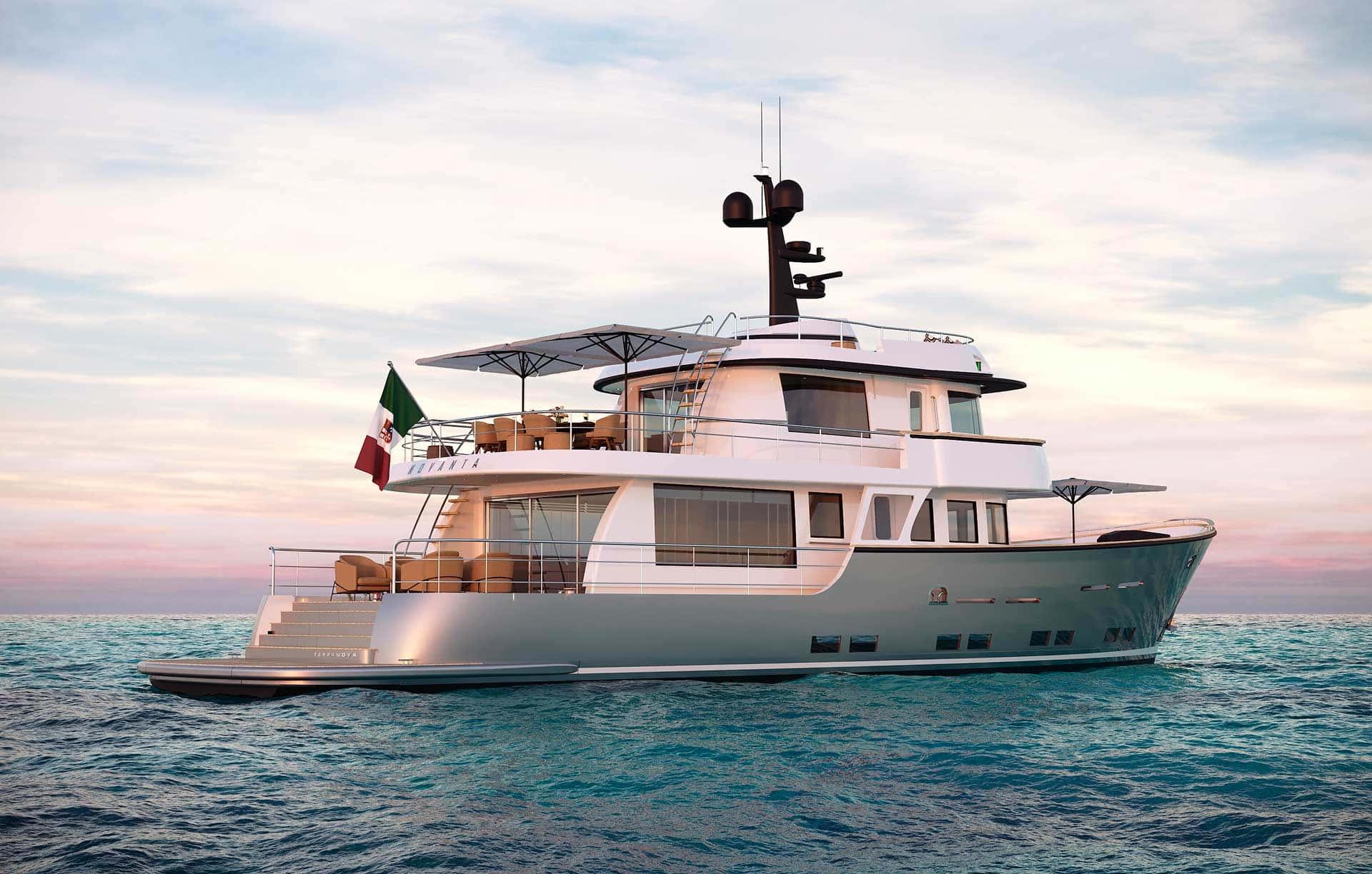 Vista laterale destra Yacht terranova T90 al tramonto