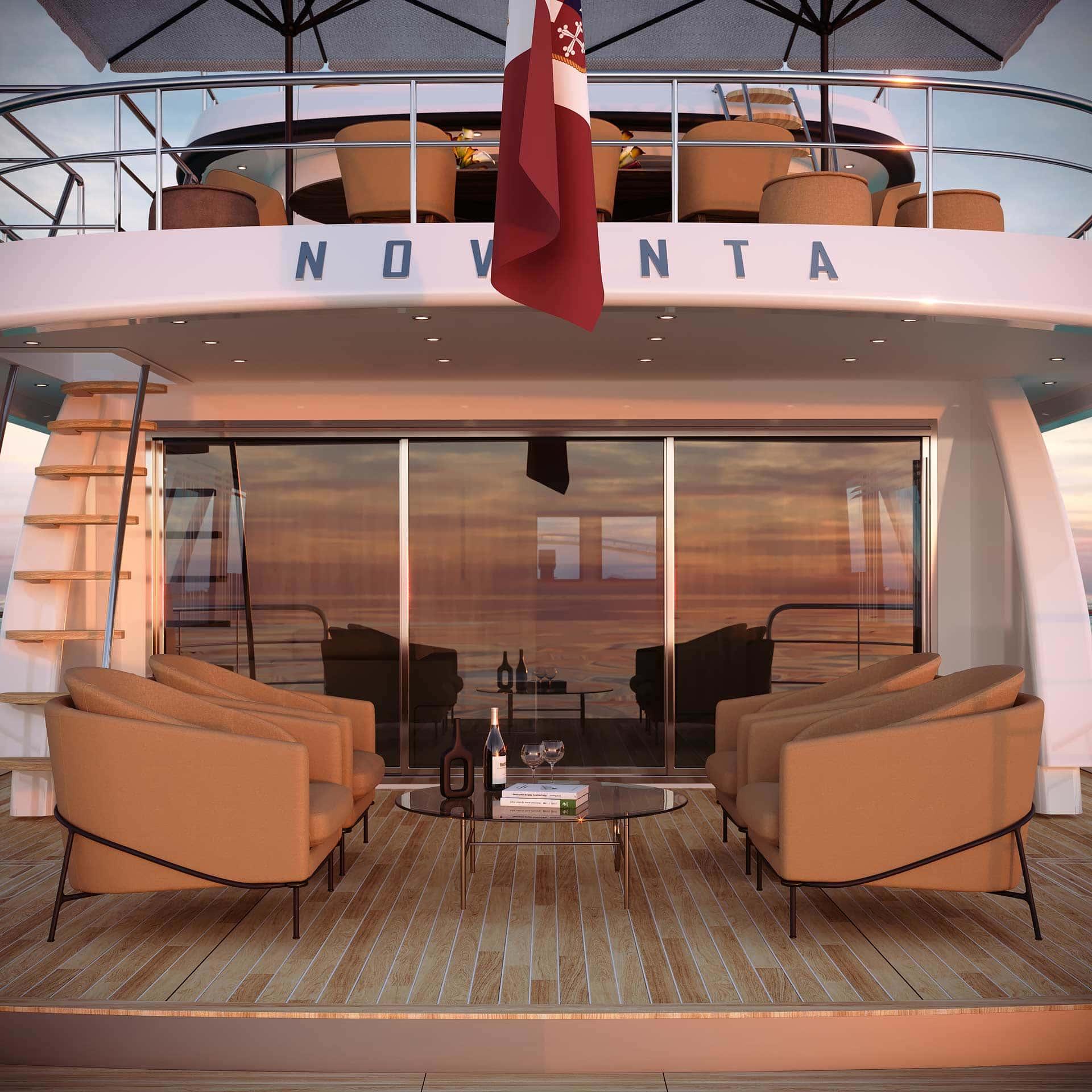 dettaglio salotto sul retro dello yacht T90 Terranova