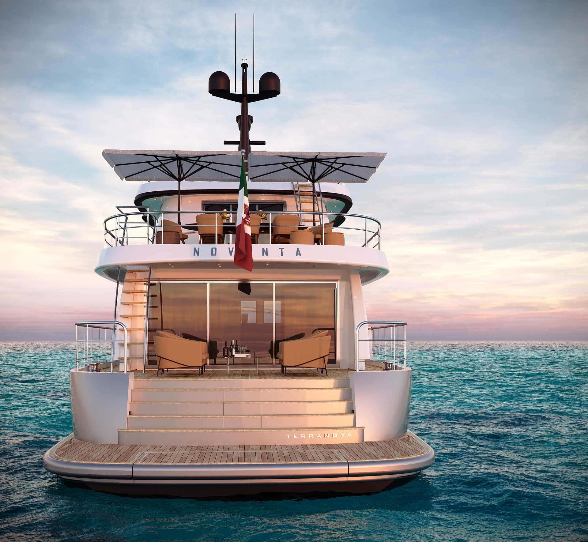Vista posteriore Yacht terranova T90 al tramonto