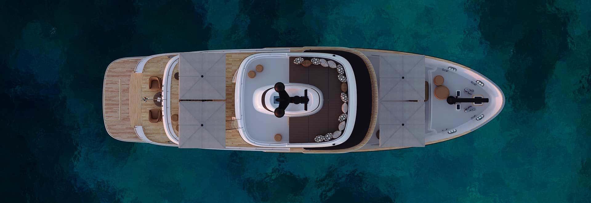 Vista superiore Yacht terranova T90 al tramonto